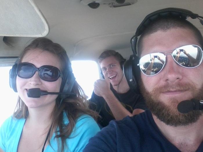 Bethany, Matthew, and I flying to Midland Texas
