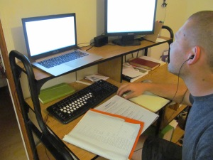 Cameron hard at work on some linguistics homework.
