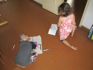 The kids like to use the paper that baguettes come in to draw and cut out.