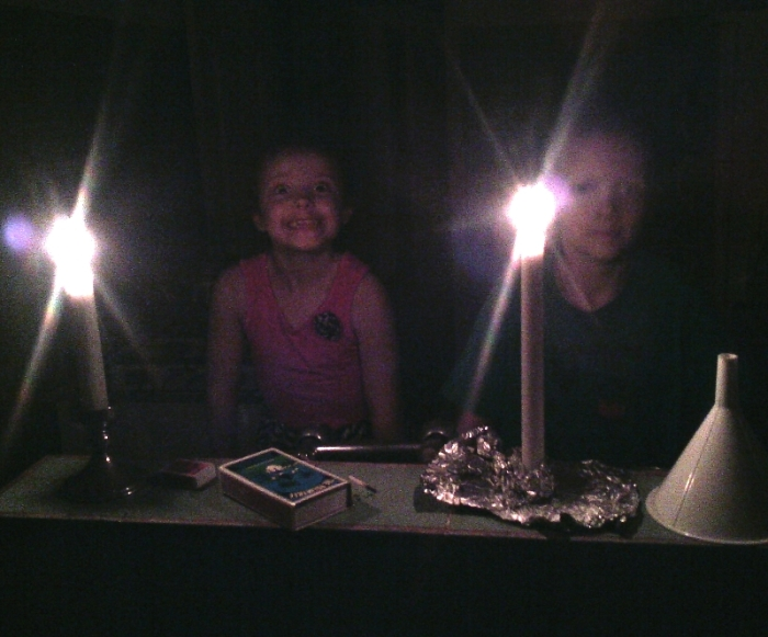 The kids have enjoyed the periodic power outages because we get to light the candles.